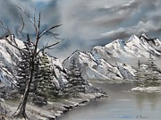 Snow-covered Landscape Painting Posters - Cold Day Poster by Kevin  Brown