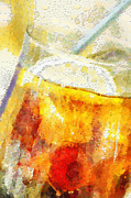 Fizz Paintings - Cold drink with lemon and ice painting by Magomed Magomedagaev