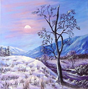 Snow Tree Prints Painting Prints - Cold Evening Print by Bozena Zajaczkowska