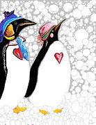 Penguins Art - Cold Feet Warm Hearts by Eloise Schneider