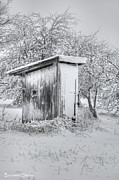 Outhouses Acrylic Prints - Cold Fifty Yard Dash Acrylic Print by Benanne Stiens
