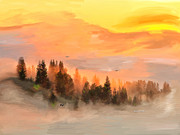 Cold Foggy Spring Morning Print by Angela A Stanton