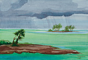 G2g Visions Posters - Cold Front in Islamorada Watercolor Painting Poster by Michelle Wiarda