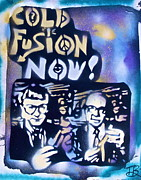 Free Speech Painting Framed Prints - Cold Fusion Now Blue Framed Print by Tony B Conscious