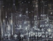 City At Night Paintings - Cold Hard Streets by Tom Shropshire