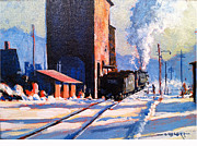 Snow Scene Painting Originals - Cold Morning Coal by Mark Oehlert