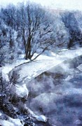 Snowy Trees Digital Art - Cold morning by Gun Legler