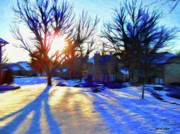 Homes Digital Art Prints - Cold Morning Sun Print by Jeff Kolker
