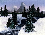 Snowy Trees Paintings - Cold Mountain Brook Painterly by Barbara Griffin