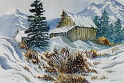 Log Cabin Art Mixed Media Prints - Cold Outside Print by Don Hand