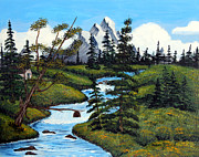 Fisherman In Stream Paintings - Cold Rattling Brook  by Barbara Griffin