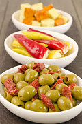 Wooden Bowls Posters - Cold Tapas - Spanish style antipasti. Poster by Paul Brighton