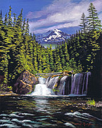 Fir Trees Painting Prints - Cold Water Falls Print by  Davi