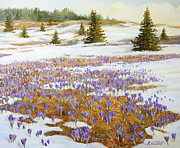 Snow Picture Paintings - Cold Weather Is Going Away by Kiril Stanchev