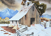 Wooden Cabin Paintings - Cold Winter Cabin by Harry Sadeghi