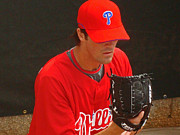 Hamels Photo Framed Prints - Cole Framed Print by David Rucker