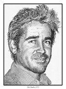 Grey Drawings Framed Prints - Colin Farrell in 2009 Framed Print by J McCombie