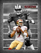 San Francisco 49ers Framed Prints - Colin Kaepernick 49ers Framed Print by Joe Hamilton