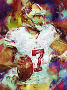 Colin Kaepernick Framed Prints - Colin Kaepernick Abstract 1 Framed Print by David G Paul