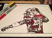 Sports Art Drawings Posters - Colin Kaepernick half way done Poster by Jeremiah Colley