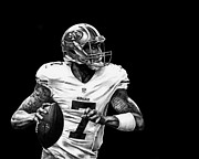 Football Drawings Prints - Colin Kaepernick Print by Ryan Jones