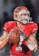 49ers Painting Prints - Colin Kaepernick Sketch Card Print by Joshua Jacobs