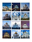 Russian Cross Photo Framed Prints - Collage - Cathedral of Christ the Savior Of Moscow - Russia - Featured 3 Framed Print by Alexander Senin