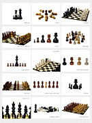 Chessboard Prints - Collage Chess Stories 2 - Featured 3 Print by Alexander Senin