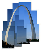 St Louis Missouri Prints - Collage of St Louis arch Print by Garry McMichael