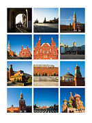 Chimes Posters - Collage - Red Square In The Morning Poster by Alexander Senin
