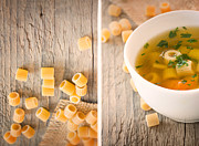 Wooden Bowl Posters - Collage Vegetable soup with pasta Poster by Mythja  Photography