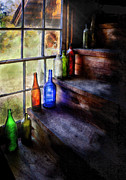Glass Bottles Posters - Collector - Bottle - A collection of bottles Poster by Mike Savad