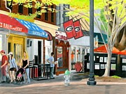 Downtown Drawings Metal Prints - College Avenue Metal Print by Carmen Kraus
