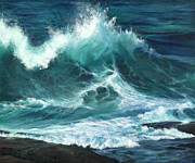 Art On Foam Posters - Colliding Tides Poster by Jeanette French