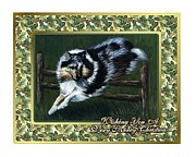 Collie Painting Framed Prints - Collie Dog Christmas Framed Print by Olde Time  Mercantile