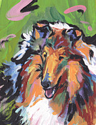 Collie Painting Framed Prints - Collie Folly Framed Print by Lea