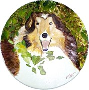 Collie Drawings Posters - Collie Poster by Martial Martin