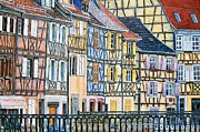 Canal Painting Originals - Colmar France by Mike Rabe