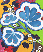 Cindy Davis Posters - Coloful Retro Boho Flower Painting Poster by Cindy Davis