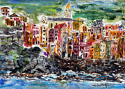 Riomaggiore Paintings - Coloful Riomaggiore by Michael Helfen