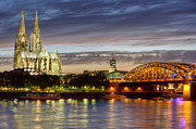 Sacral Prints - Cologne Cathedral with Rhine Riverside Print by Heiko Koehrer-Wagner