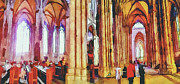 Old Town Digital Art Prints - Cologne Dome Interior Print by Yury Malkov