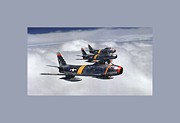 Colonel Ben O Davis Leads F 86 Sabres Over Korea Large Border Print by L Brown