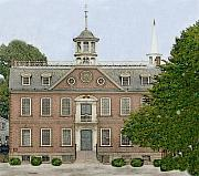 Diane Berry Drawings - Colonial Court House Newport Rhode Island by Diane E Berry