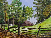 Sturbridge Village Painting Framed Prints - Colonial Days Schoolhouse Framed Print by Karen Olson