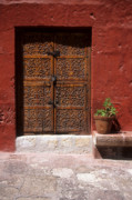 Arequipa Prints - Colonial door and geranium Print by James Brunker