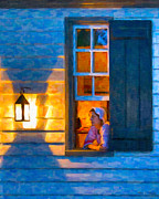 Illustrative Posters - Colonial Williamsburg by Night Poster by Mark E Tisdale