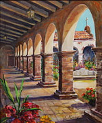 San Juan Paintings - Colonnade at Mission San Juan Capistrano by Jan Mecklenburg