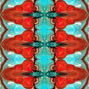 Hindi Mixed Media Prints - Color Chant - Red and Aqua Pattern Art By Sharon Cummings Print by Sharon Cummings