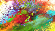 Horizontal Wall Art Posters - Color Explosion abstract art Poster by Ann Powell